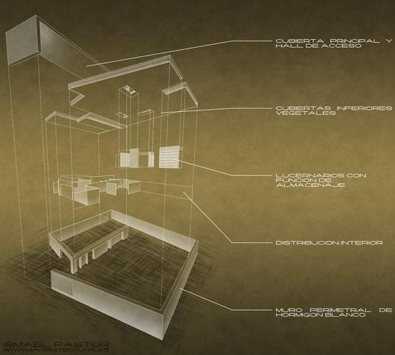 Descomposición arquitectónica. Biblioteca en Valencia. proyecto y postproducción: Ismael Pastor www.miarquitectura.es