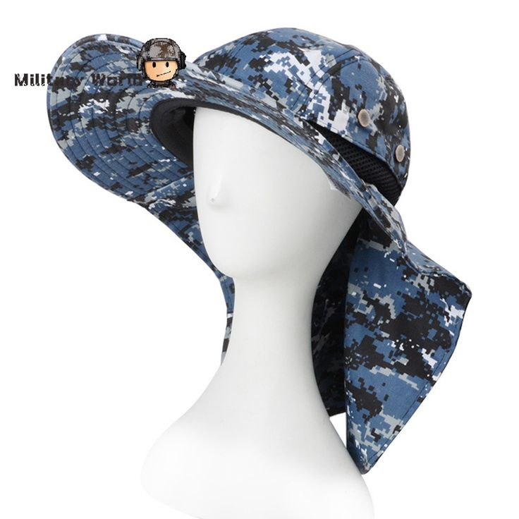 Blue Camo Summer Wide Brim Sunshade Hats Adjustable Drawstring Military Boonie Hat Tactical Camouflage Fishing Bucket Hats