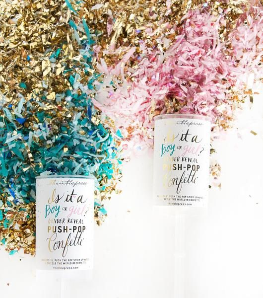 Dazzle the world in confetti and announce the gender of a new arrival with this gender reveal push-pop confetti™! Pink or blue confetti is housed in the middle