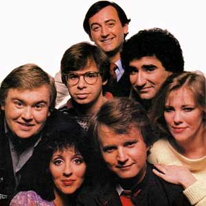 The funniest television I've ever seen: SCTV (Second City TV).  Original cast was John Candy, Andrea Martin, Rick Moranis, Joe Flaherty, Dave Thomas, Eugene Levy, and Catherine O'Hara.  Another cast member was Martin Short.