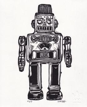 Robot I Linocut Eric Rewitzer