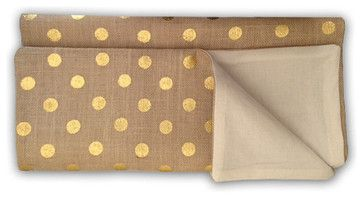 Metallic Gold Dot Burlap Table Runner by Sixty-One Twenty-Five - contemporary - Tablecloths - Etsy