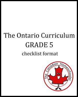 The Ontario Curriculum - Grade 5 - Checklist Format