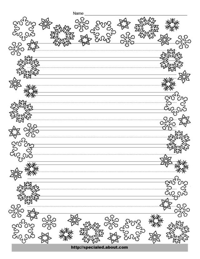 Christmas Writing Paper with Decorative Borders: Christmas Snowflake Page