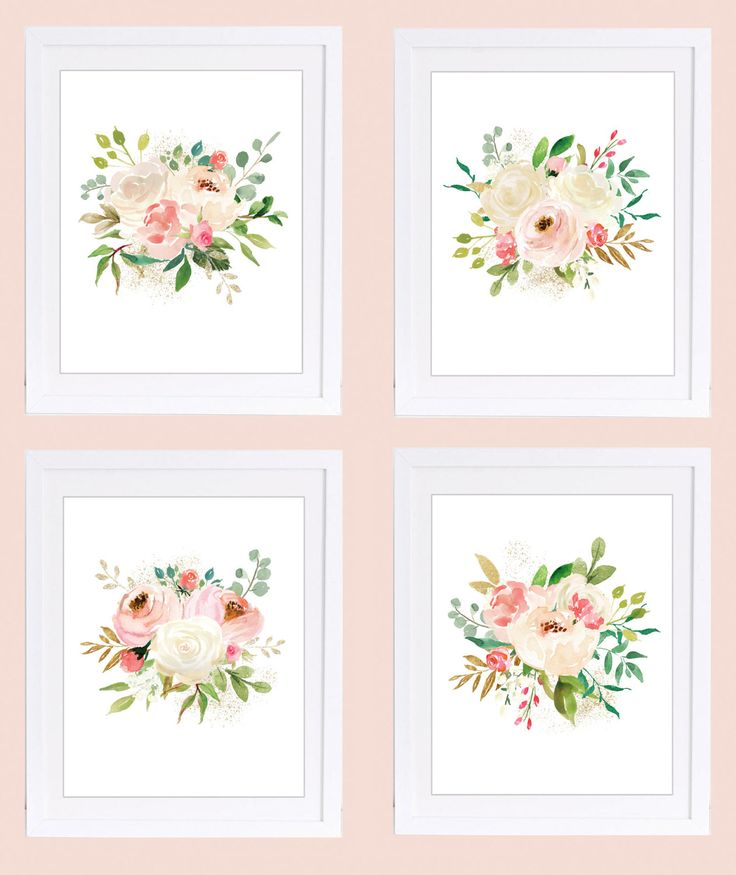 Set of 4 Prints, Floral Nursery Wall Art, 11x14 inches, Rose Prints, Watercolor Florals, PRINTABLE NURSERY ART, Ivory Roses, Blush Roses by DuneStudio on Etsy