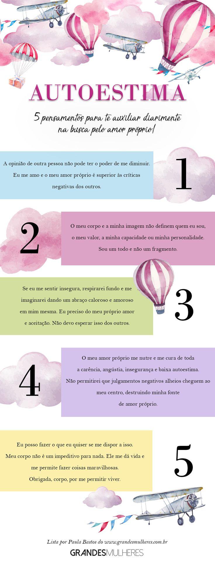5 pensamentos para te ajudar a desenvolver autoestima: lista ilustrada com mensagens positivas que irão te ajudar na caminhada do amor próprio e da aceitação!