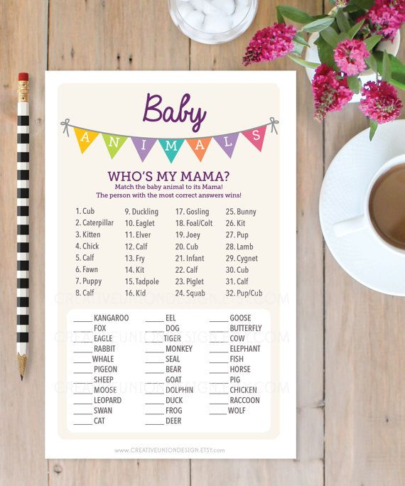 Baby Shower Game – Baby Animals Game – Baby Shower Game – Who's My Mama? – Print at Home – A4 and US sizes – A4 Shower Game – Bunting