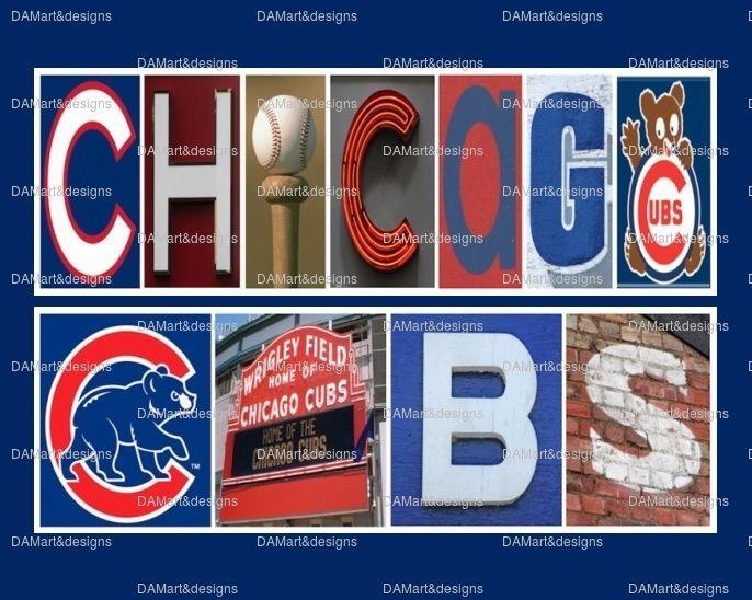 Chicago Cubs MLB Framed Alphabet Photo Art