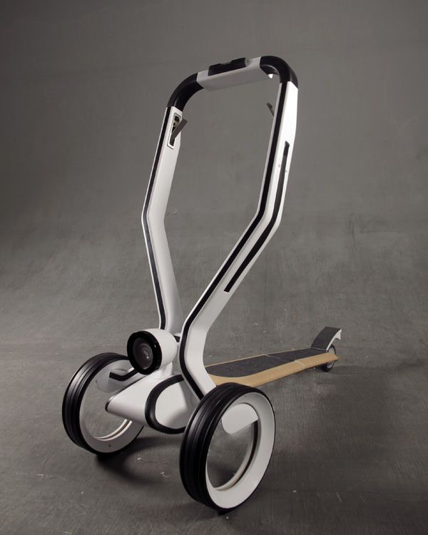Skippy The Scooty. Love the thoughtful SRV .h concept. It is an eco-friendly concept vehicle that is best suited for shopping and mobility. Basically this commuter scooter can transform to a helpful shopping cart via some simple folding steps. Details that include a cradle for storing your phone makes this such an awesome thang. Elegant and functional, this is my scooty of the future!