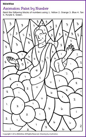 Bible Wise another great extra resource :-) Paint by Number: Jesus' Ascension - Kids Korner - BibleWise