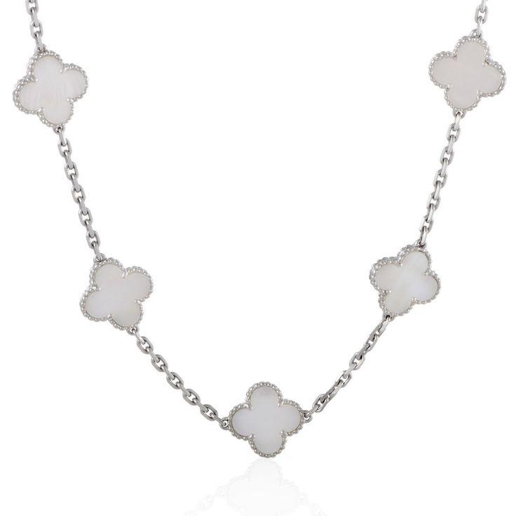 Van Cleef & Arpels Vintage Alhambra White Gold 20 Motif Mother of Pearl Necklace #Estate