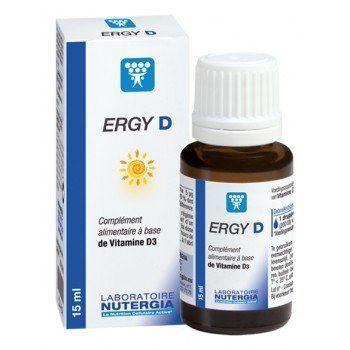 NUTERGIA ERGY D à base de Vitamine D3 – 15ml: Ergy D- Complément alimentaire – contre l'ostéoporose – système immunitaire renforcé.