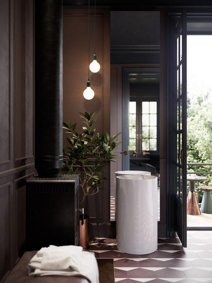 piękna walcowa umywalka wolnostojąca w łazienko w kolorystyce mushroom ze nowoczesnym oświetleniem