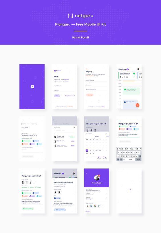 Planguru - Free Mobile UI Kit  sketch by Patryk Pustół | UI and UX