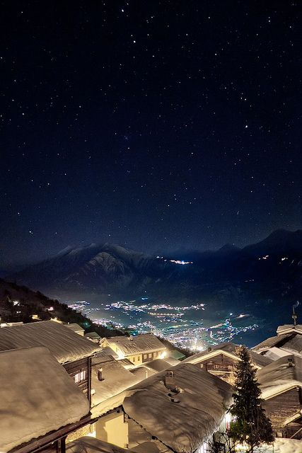Mund, Switzerland: Photos, Winter, Starry Night, Beautiful Night, Places, Night Sky, Photography
