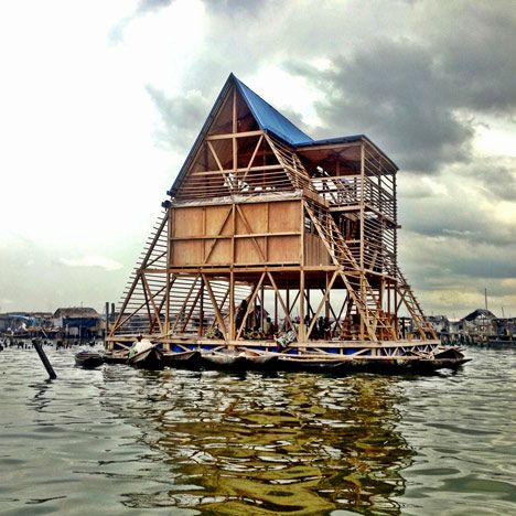This floating school on a Nigerian lagoon by architecture studio NLÉ is one of the project nominated for 2014's Designs of the Year awards.