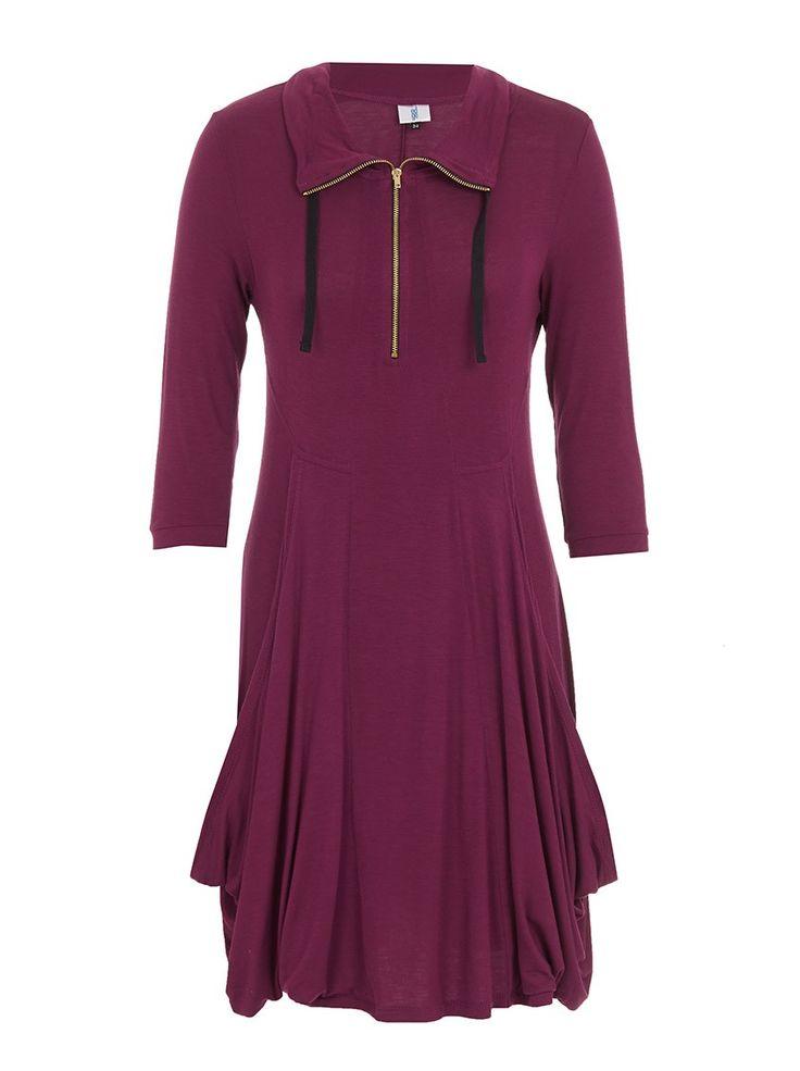 Cowl neck dress with zip detail Dark Purple