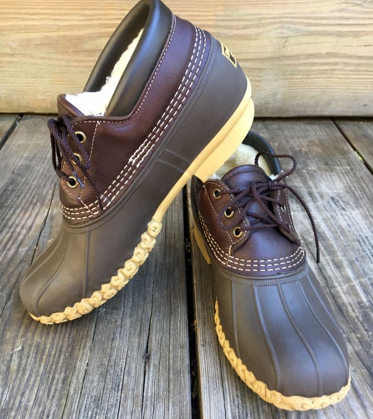 LL Bean Tumbled Leather Shearling Fleece Lined Gumshoe Duck Boots Men's 9  Med.