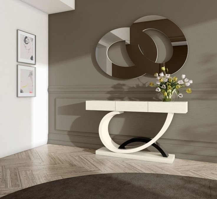 £1980 Ocean, modern console table in lacquer, lacquer and oak or oak and gold/silver leaf finish