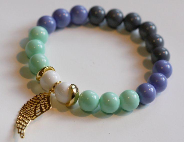 Tenderness: Glass Pearl Bracelet, Gold Plated Pendant | $6.99