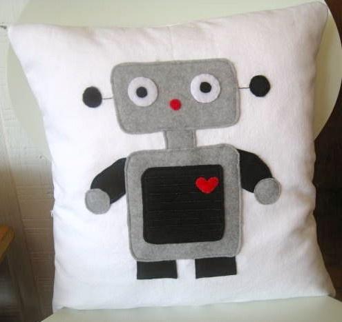 robot pillow  cute simple design