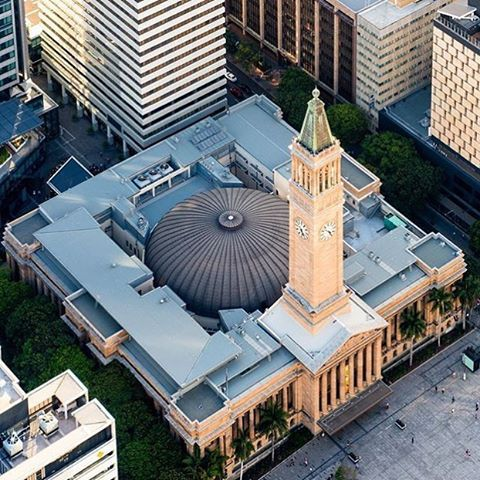 The iconic Brisbane City Hall looking as impressive from the air as it does from the ground : @aerialadvantage #brisbaneanyday
