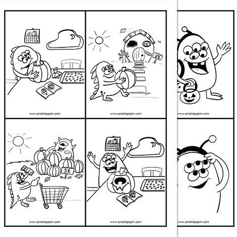 Fichier PDF téléchargeable En noir et blanc seulement 3 pages  Voici 3 histoires séquentielles sur le thème de l'Halloween. Les élèves peuvent découper les illustrations et les replacer dans l'ordre, ou encore, les numéroter directement sur les feuilles. Certaines histoires sont peut-être plus difficiles que d'autres à résoudre, à vous d'en juger.