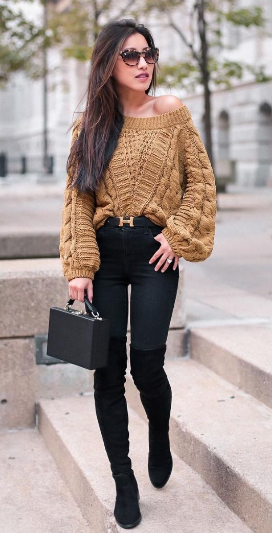 off-the-shoulder chunky sweater
