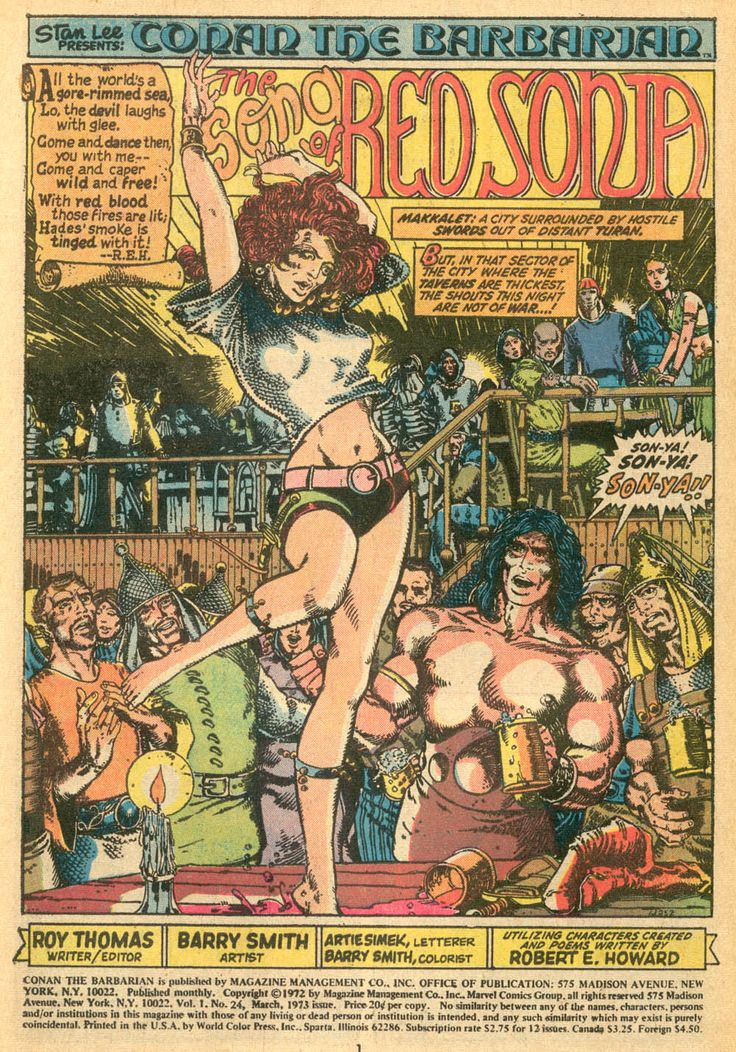The first appearance of Red Sonja (Conan likes!). The classic costume comes later (cosplayers like!).