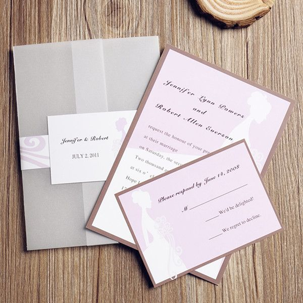 romantic blush pink wedding dress pocket wedding invitation cards EWPI071 as low as $1.69