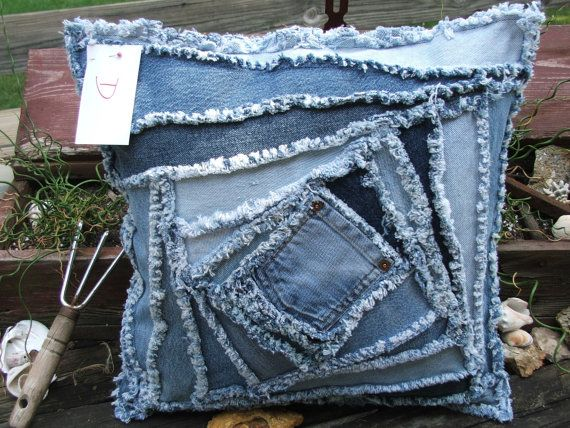 Denim pillow sham pieced in a crazy log by TatteredSisters on Etsy