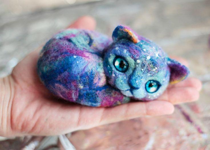 Needle Felted Galaxy Cats by Sasha Lelilio on Etsy... | Love it!!!!