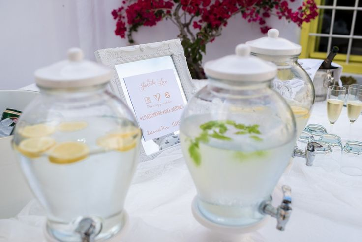 Wedding Refreshments, Beautiful Jars, Lemons, Mint, Fresh, Table Decorations, Essentials, Tasteful, Santorini Wedding Venue