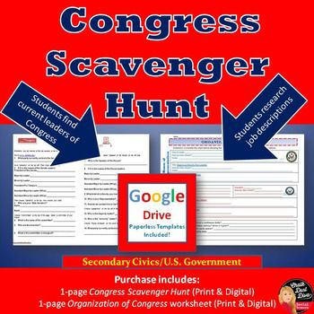 This is an engaging activity for your students to learn about the leaders in Congress. Students will use the internet to complete a web quest either in the classroom or at home. Very specific directions are included for the students including links to websites for their search. This is a one page document with 14 questions. Pin it!