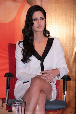 High Quality Bollywood Celebrity Pictures: Katrina Kaif Showcasing Her Sexy Long Legs In a White Short Dress At 'Jab Tak Hai Jaan' Press Meet At YRF Studios, Mumbai
