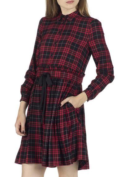 Robe courte droite et plissée en tartan Riviera Noir by CLAUDIE PIERLOT