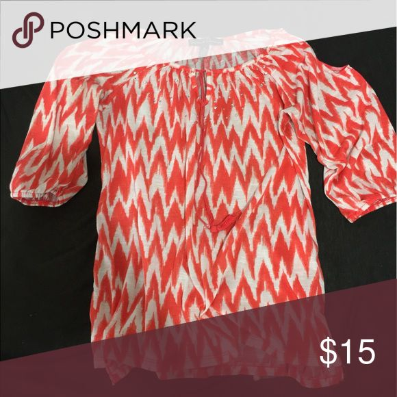 Orange Dress Shirt Shows the shoulder Tops Blouses