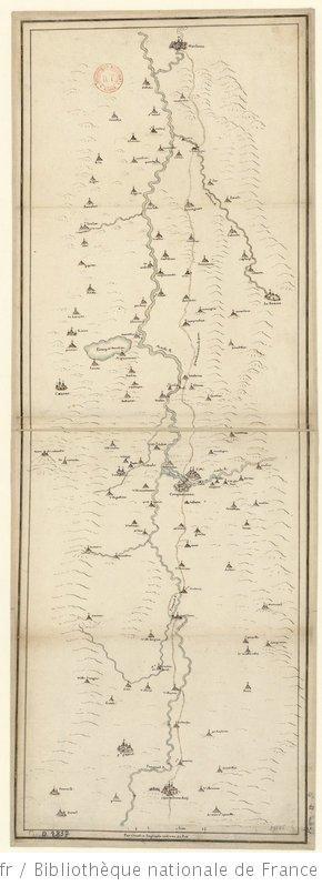 [Carte des environs de] Carquassone [et du] grand chemin de poste [de] Chastelnaudarj [à] Narbone. 1 lieue [=Om. 057 ; 1 : 125 000 environ] ... 1630