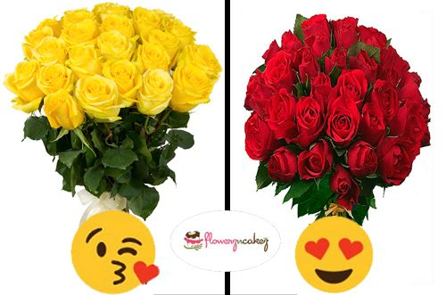 Comment the respective emoji for Yellow roses or Red roses.  Buy them now: http://www.flowerzncakez.com/bouquet-of-12-yellow-roses.htm