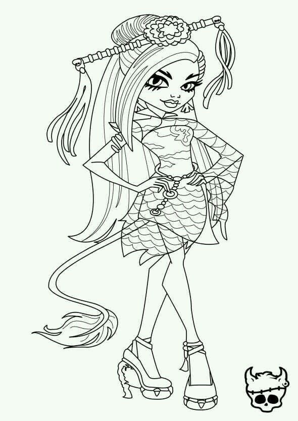 jinafire long monster high coloring page - Monster High Chibi Coloring Pages