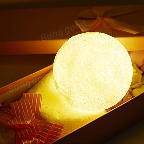 13CM 3D Moon Lamp USB LED Remote Color Changeing Night Light Table Desk Lamp Sale - Banggood.com