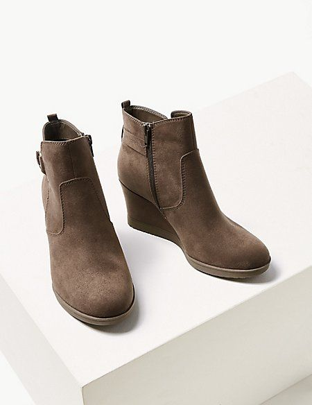 825b9b0036f3b Wide Fit Wedge Heel Ankle Boots | iLike | Wedge heels, Boots, Ankle