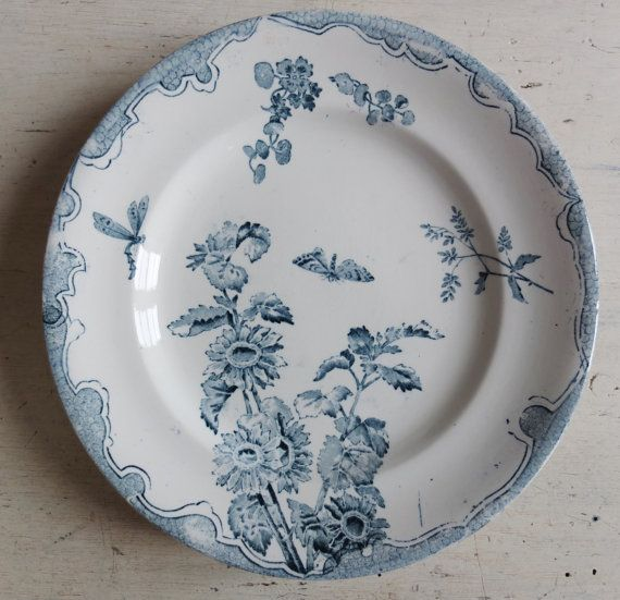 Insects flowers Lovely antique French plate by allyenfrance, €18.00