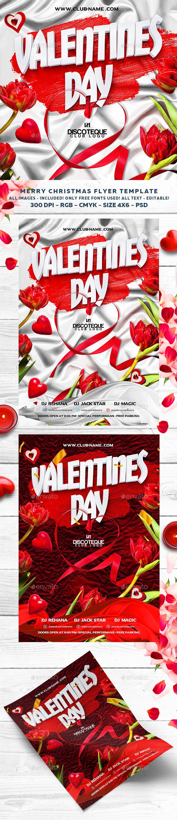 #Valentines #Flyer - #Clubs & Parties #Events Download here: https://graphicriver.net/item/valentines-flyer/14211267?ref=alena994