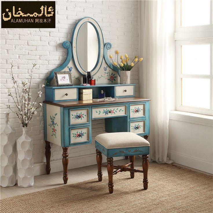 Ems свободной твердой древесины спальня комоды стол современный небольшой квартире синий туалетный столик + макияж стул купить на AliExpress