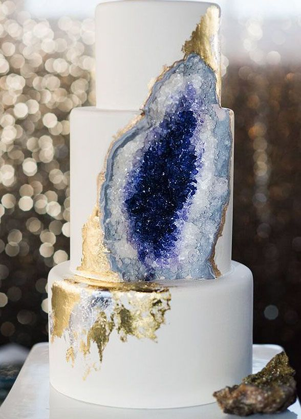 Rock candy, food coloring, and edible gold paint transform this cake into a masterpiece. Click for 17 most unique wedding cakes: http://www.colincowieweddings.com/food-and-drink/17-wedding-cakes-that-will-make-you-forget-all-other-cakes