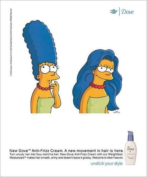 Dove advert - using the Simpsons for a comical angle