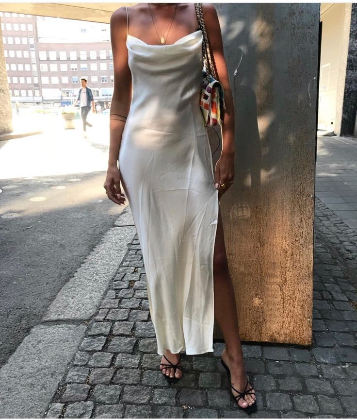 White satin dress with side slit. French girl styl…