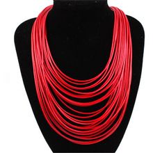 Hot Fashion Women Multicolor Necklace Multilayer Rope Bohemia Statement Jewelry Long Necklace for Women 3L5002(China (Mainland))