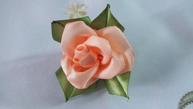 Цветы из атласных лент Роза просто быстро красиво